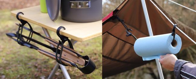 ●アウトドアツールをまとめるのに役立つ。長めのキャンプ用品を束ねてつるすことも可能