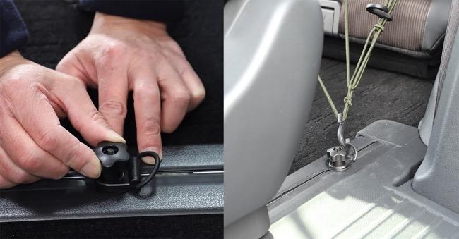 ●シートレールに取り付けることで、ロープやタイダウンの固定ポイントとして利用できる。大きな荷物や自転車などを固定するのに有用だ